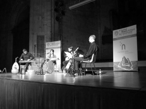 Bill, Ana, Rafa y Jaime en auditorio de San Francisco